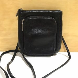 Hobo Leather Crossbody Bag Black w/Red Lining  K