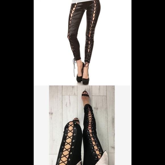 Pants - Faux Leather Lace Up Pants