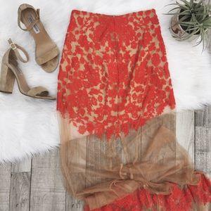 For Love And Lemons Dresses & Skirts - For Love & Lemons Red 'Luau Maxi' Skirt