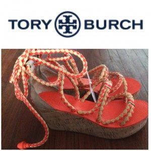 New Never Worn Tory Burch Rope Wedges 10 1/2