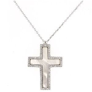 Jewelry - Silver Cross, Silver and Mother Of Pearl, with CZ