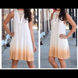 Ombré Lace Up Front Tunic Dress