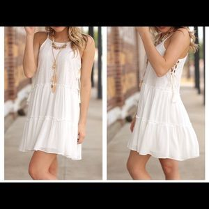 Lemon's Lovelies Dresses & Skirts - White Boho side Lace up Tunic dress