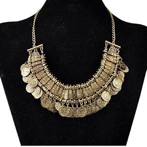 GOLD BOHO COIN STATEMENT NECKLACE
