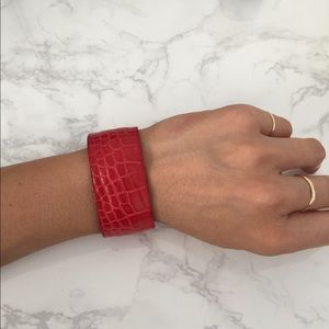 Jewelry - JVH red Croc embossed leather cuff