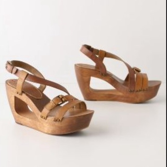 Wooden Wedge Heel Shoe With Straps