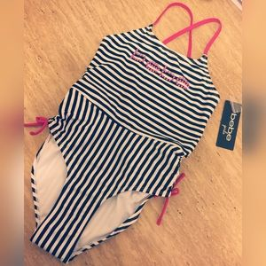 bebe Other - NWT Bebe Girls one piece black & white swimsuit L