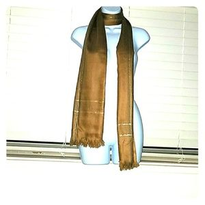 *Stunning tan scarf with golden accents!*