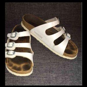 Birkenstock Shoes - Birkenstock White Leather Sandals