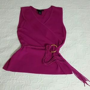Willi Smith Tops - Willi Smith pink sleeveless belted blouse L
