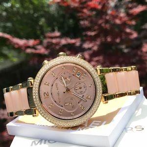 Michael Kors Accessories - $295 New Michael Kors Parker Blush Watch  MK6326