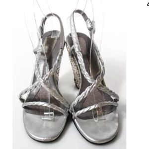 Anya Hindmarch Shoes - ANYA HINDMARCH SILVER LEATHER WEDGE SZ 7
