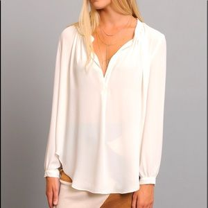Olivaceous Tops - Olivaceous ivory Solid Notch Long Sleeve Blouse M