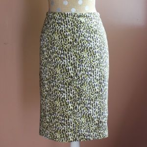 Jcrew purple/green/cream spotted pencil skirt