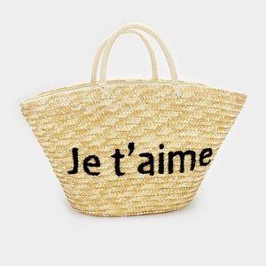 Je T'aime Straw Tote Bag