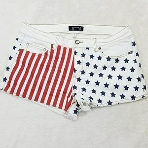 Forever 21 American Flag Cut Off Jean Shorts BB6