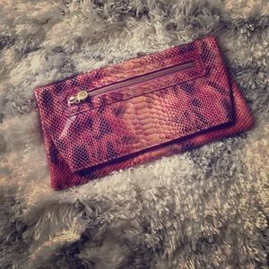 Handbags - Pink snakeskin clutch 👛   Perfect condition!!!