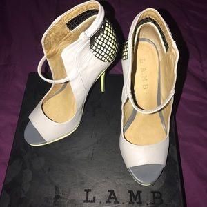 L.A.M.B. Shoes - Yellow / Grey L.A.M.B. peep Toe Bootie Sandals