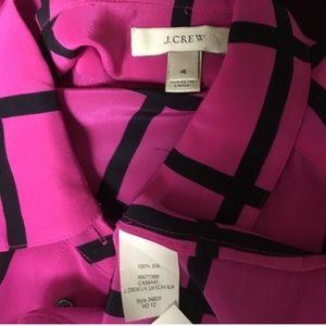 J. Crew Tops - J CREW Silk boy shirt in windowpane hot pink neon