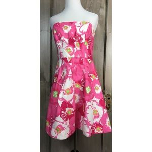 Lilly Pulitzer Strapless Floral Print Dress Size 4