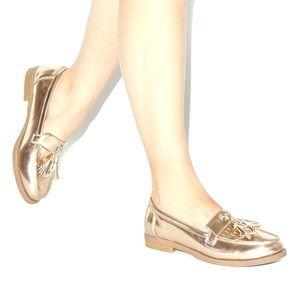 ShoeDazzle Shoes - Rose Gold Statement Loafers