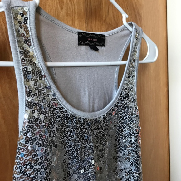 72% off Pink Rose Tops - Pink Rose Silver Sequin Tank Top ...