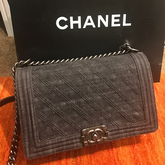 f5564a47458ff Chanel old medium black denim boy bag