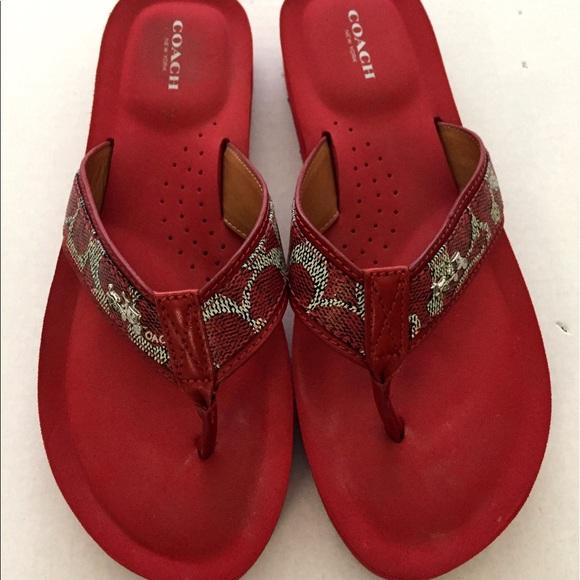 01e1546ed Coach Shoes - Coach Women s Red Flip Flop Slides Size 9.5 B