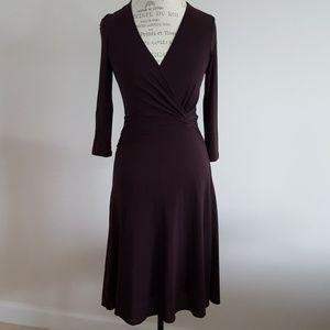BCBG Brown faux jersey wrap dress S