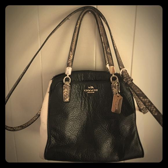 b0638fff741c ... discount coach minetta leather python satchel shoulder bag baef7 8dab6