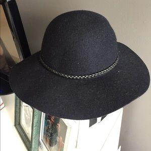 Lulu's Accessories - Navy Blue wool floppy hat with braid detail