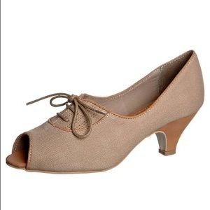 Shellys London Pinup Peep Toe Taupe Heels