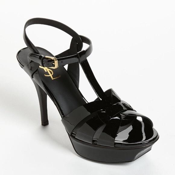 066f9c356c2 Saint Laurent Shoes | Ysl Tribute Mid Heel Black Patent Leather ...