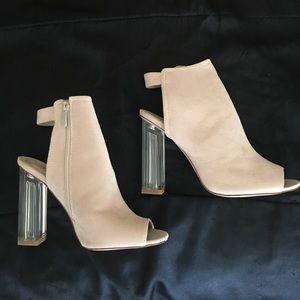 Fashion Nova Shoes - NEW! Nude open toed block heel