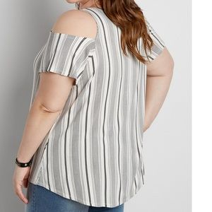 f8e46b2a66ca0 Maurices Tops - Maurices 3x vertical stripe cold shoulder top