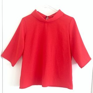 Fashion Union Tops - NWOT Adorable Red-Orange Top with High Collar Neck