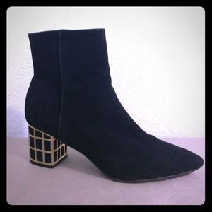 Brian Atwood Shoes - Brian Atwood Suede Black Gold Heel Boots 9