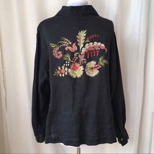 Jackets & Blazers - Black Embroidered Floral Button Linen Jacket Top