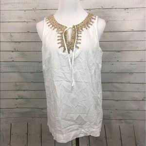 Loft gold V-neck white blouse embellished