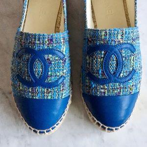 cf1d9563a17 CHANEL Shoes - Chanel Tweed   Lambskin Logo Espadrilles ~Rare~!