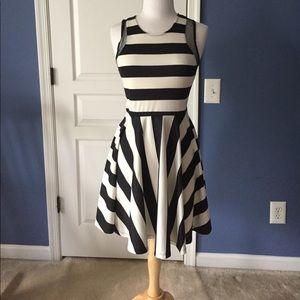 Black and white striped formal skater dress