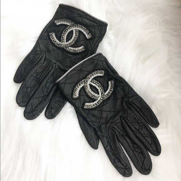 CHANEL Accessories | Black Leather Cc Embellished Gloves ...