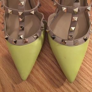 Valentino Shoes - Authentic acid green Valentino rockstud pumps