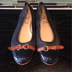 Attilio Giusti Leombruni Shoes - AGL Denim Leather Flats Size 38