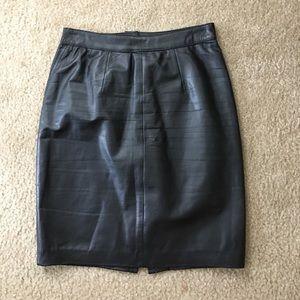 vintage G-III black leather skirt
