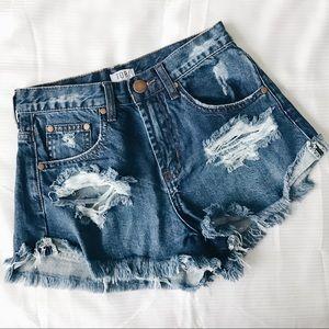 • Distressed Ripped Denim Shorts •