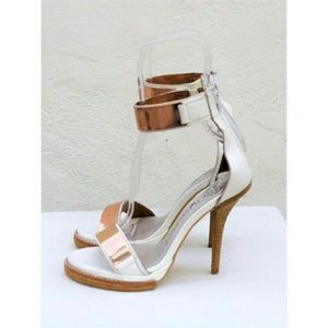 Jeffrey Campbell white and copper heels