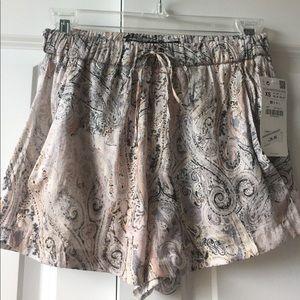 New Zara Paisley Printed Drawstring Shorts