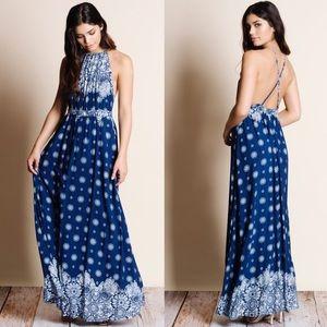 LAST LOU floral print halter maxi -NAVY BLUE