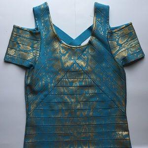 VENUS Dresses & Skirts - VENUS blue & gold dress open shoulder size L
